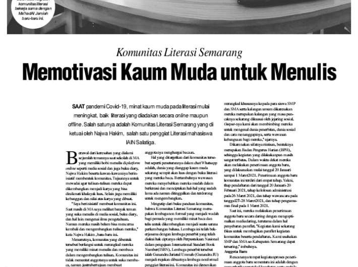 Kataba Ma'had IAIN Salatiga: Menjadi Inspirasi Generasi Muda dalam Berkarya.